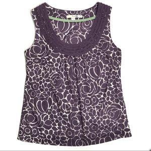 Boden Purple & White Cotton Floral Print Top
